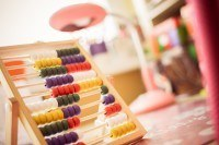 Colorful abacus in a classroom